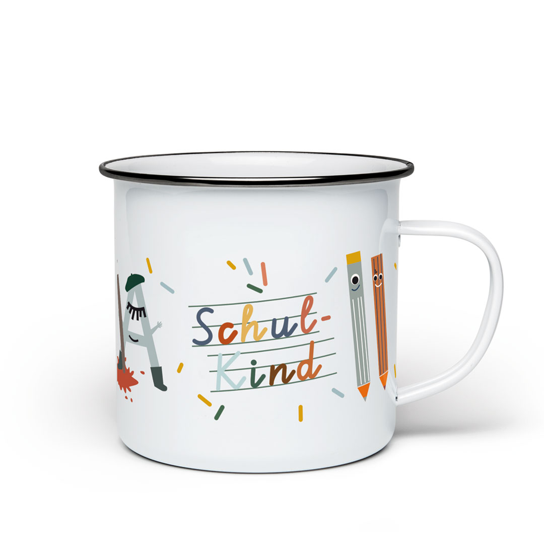»SCHULKIND EMAILLE TASSE« —LIFE IS DELICIOUS