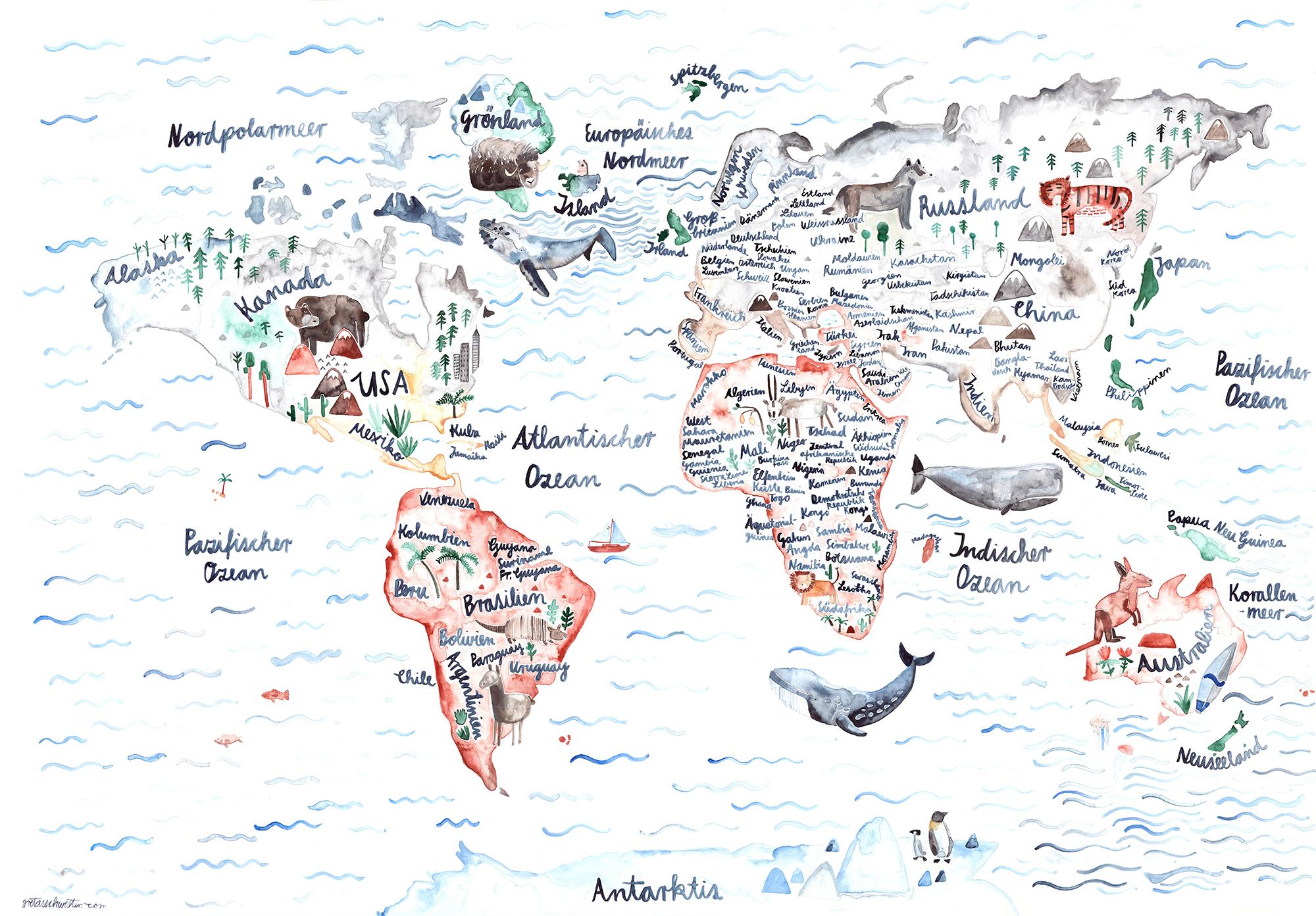 »Weltkarte«  — A1 — Gretas Schwester